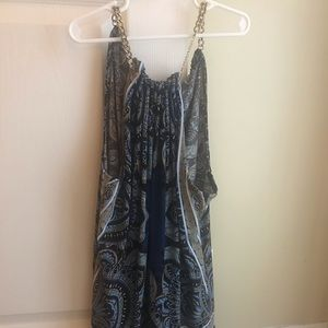 Sleeveless navy/gray/multi color summer top